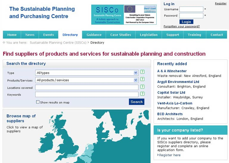 European sustainable construction directory and extranet